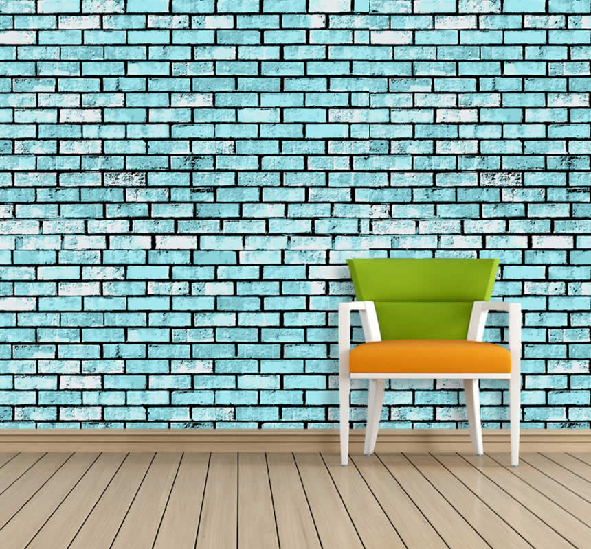 Blue Brick Wall Wallart Company